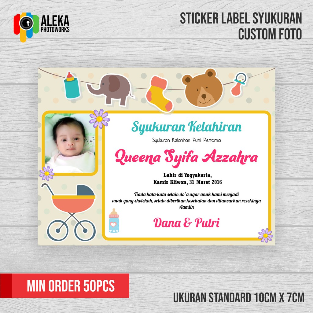 Sticker Label Syukuran Kelahiran Aqiqah Shopee Indonesia
