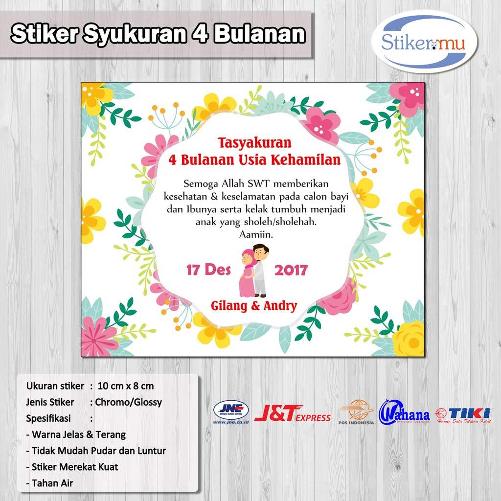 Stiker Label Syukuran 4 Bulanan Shopee Indonesia