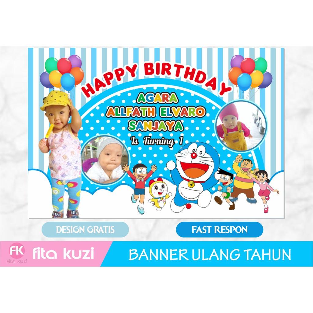 Backdrop Banner Spanduk Ulang Tahun Anak Doraemon Shopee Indonesia