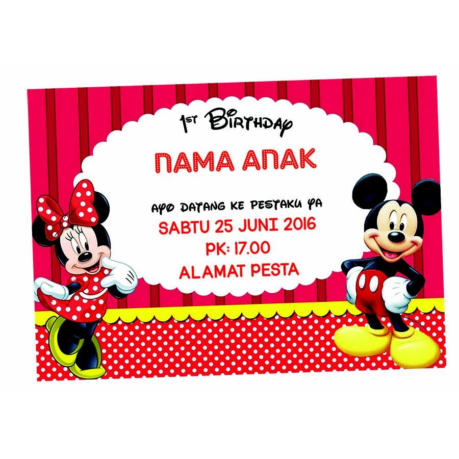 Kartu Undangan Ulang Tahun Disney Mickey Mouse Minnie Mouse
