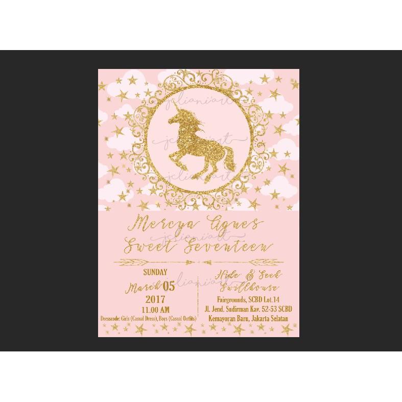 Kartu Undangan Ulang Tahun Pink Gold Unicorn Custom Design Sesuai