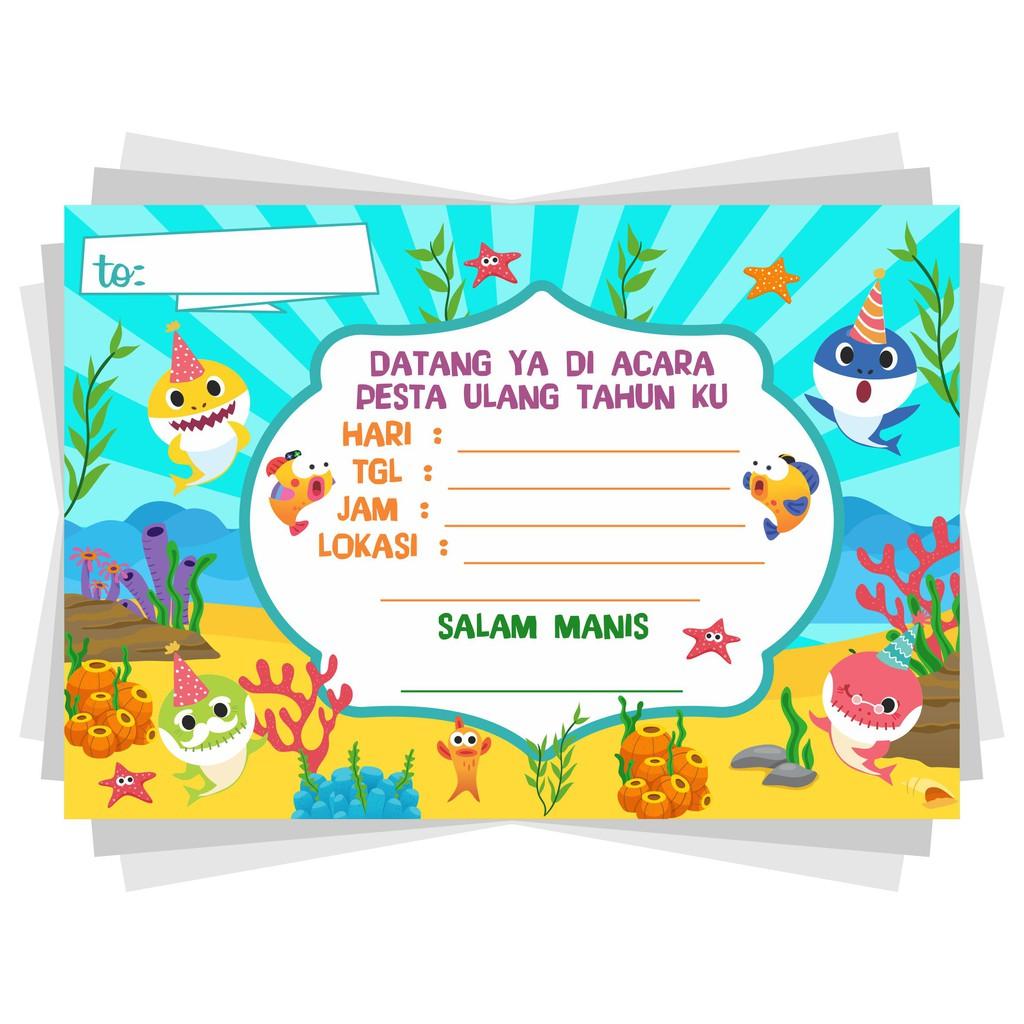 Undangan Ulang Tahun Anak Polos Babyshark Shopee Indonesia