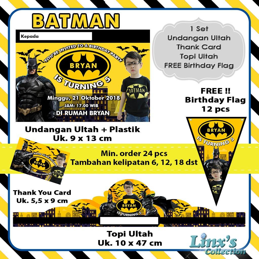 1 Set Undangan Ultah Anak Kartu Souvenir Topi Ulang Tahun Batman