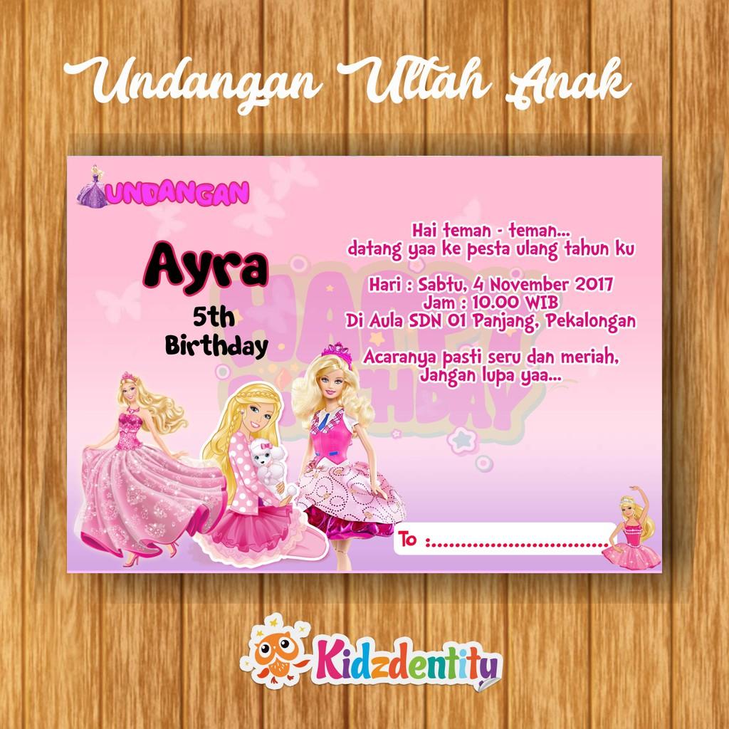 Undangan Ultah Anak Barbie Shopee Indonesia