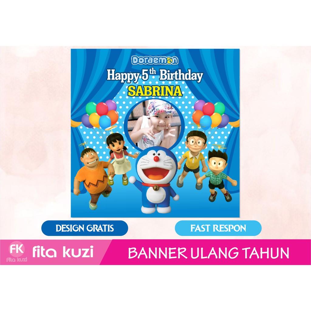 Backdrop Banner Ulang Tahun Anak Doraemon Shopee Indonesia