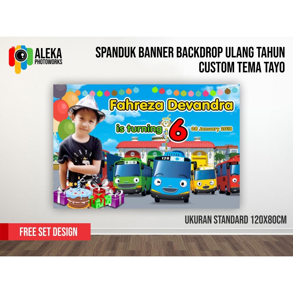 Paket Undangaj Ulang Tahun Anak Karakter Tayo Undangan Backdrop