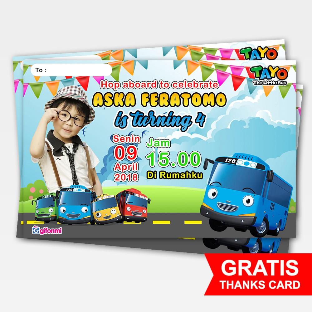 Undangan Ulang Tahun Anak Tema Tayo Little Bus Plus Foto Shopee
