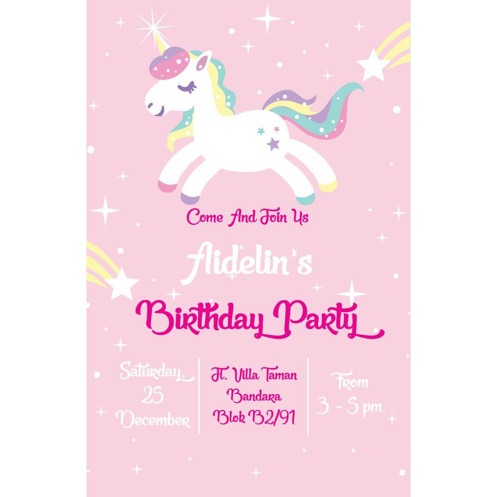 Undangan Ulang Tahun Unicorn 3 Shopee Indonesia