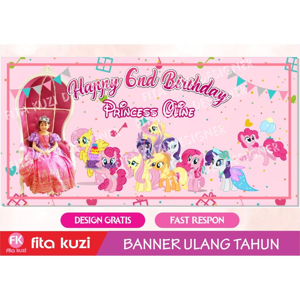 Backdrop Ulang Tahun Karakter Little Pony Banner Ultah Karakter
