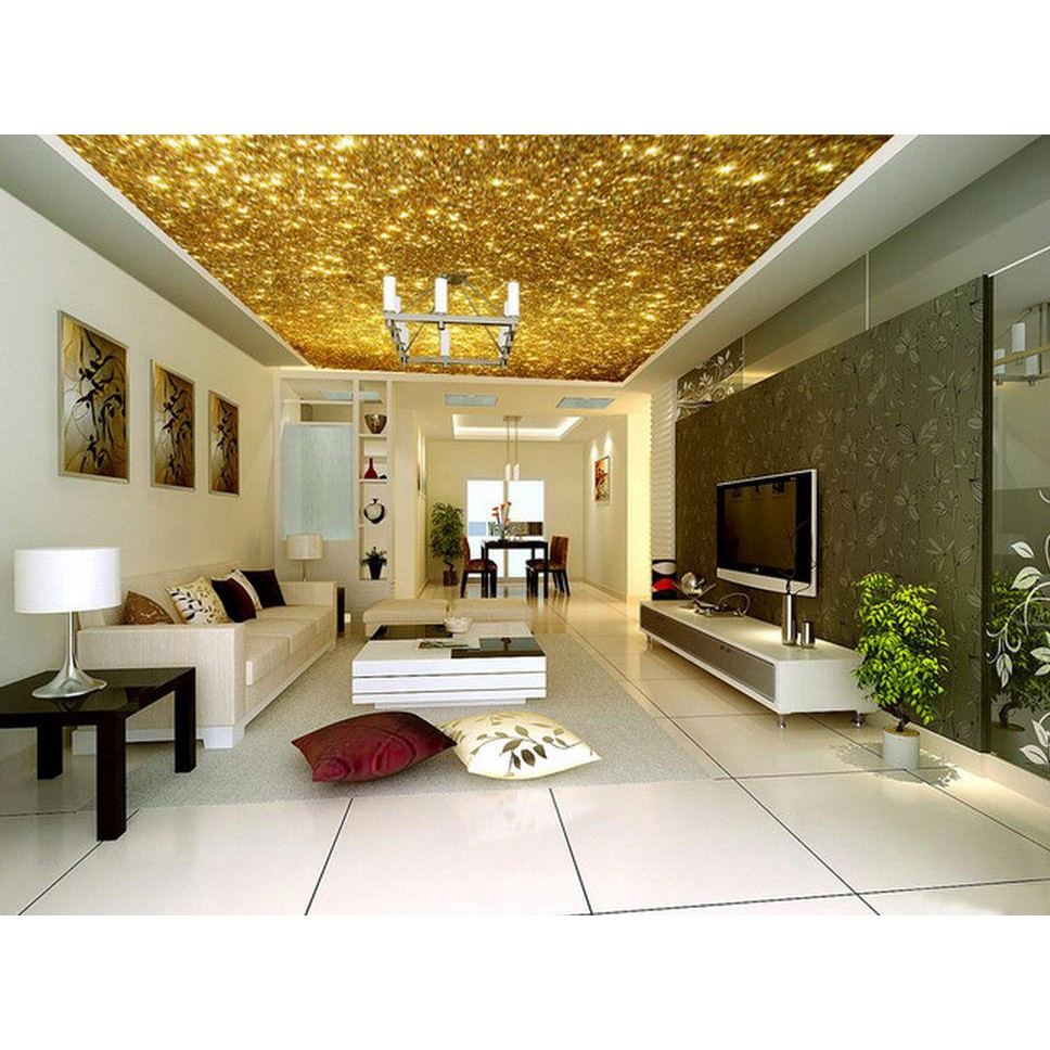 Golden 3d Ceiling Murals Wallpaper Bright Gold Particles Ceiling Design Home Decoration Ceiling Shopee Indonesia