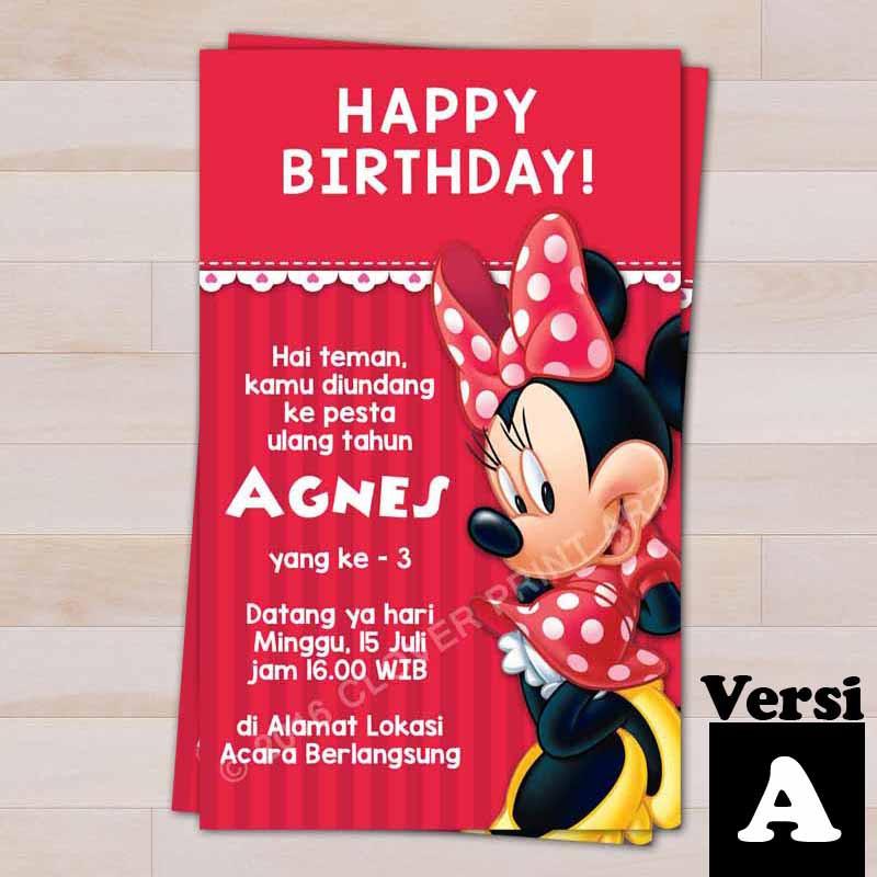 Isi 10 Kartu Undangan Ulang Tahun Birthday Invitation Minnie Mouse