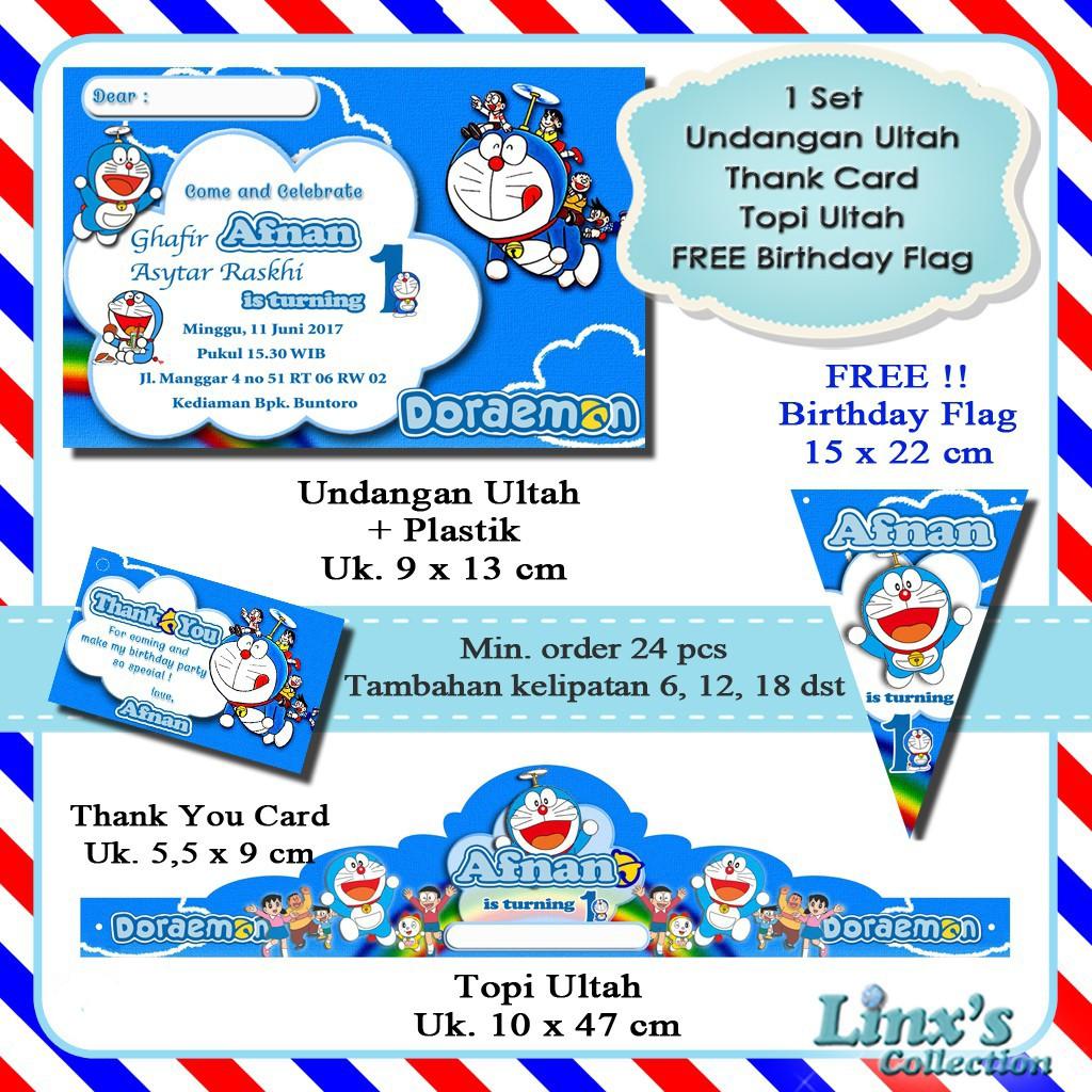 1 Set Undangan Ultah Anak Kartu Souvenir Topi Ulang Tahun Doraemon