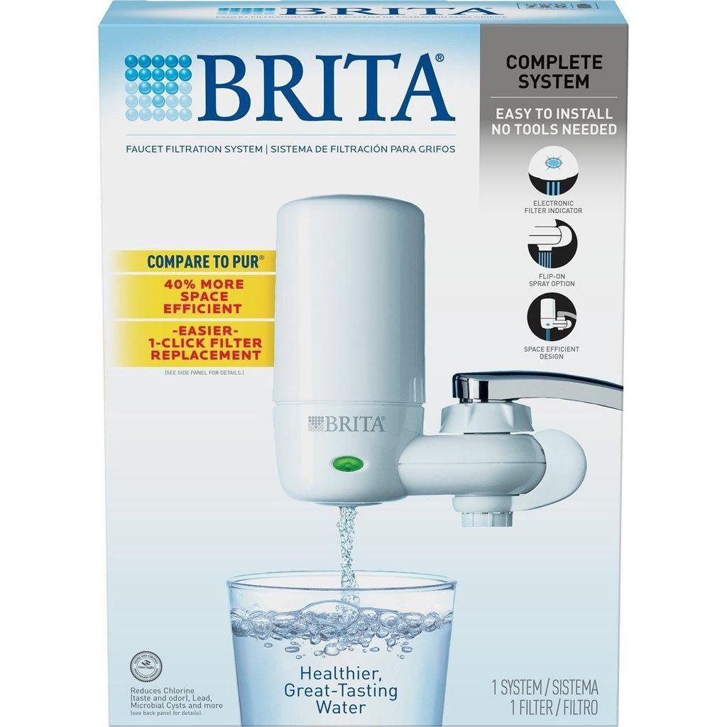 brita on tap faucet water filter system white