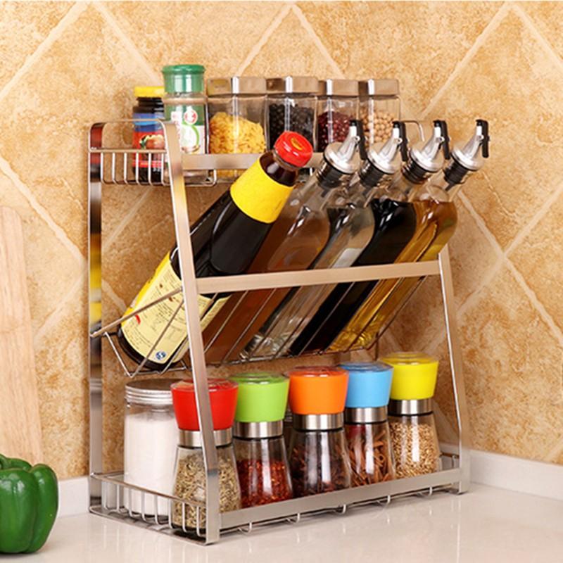 304 stainless steel three layers seasoning rack kitchen spice bottle rack storage shelf