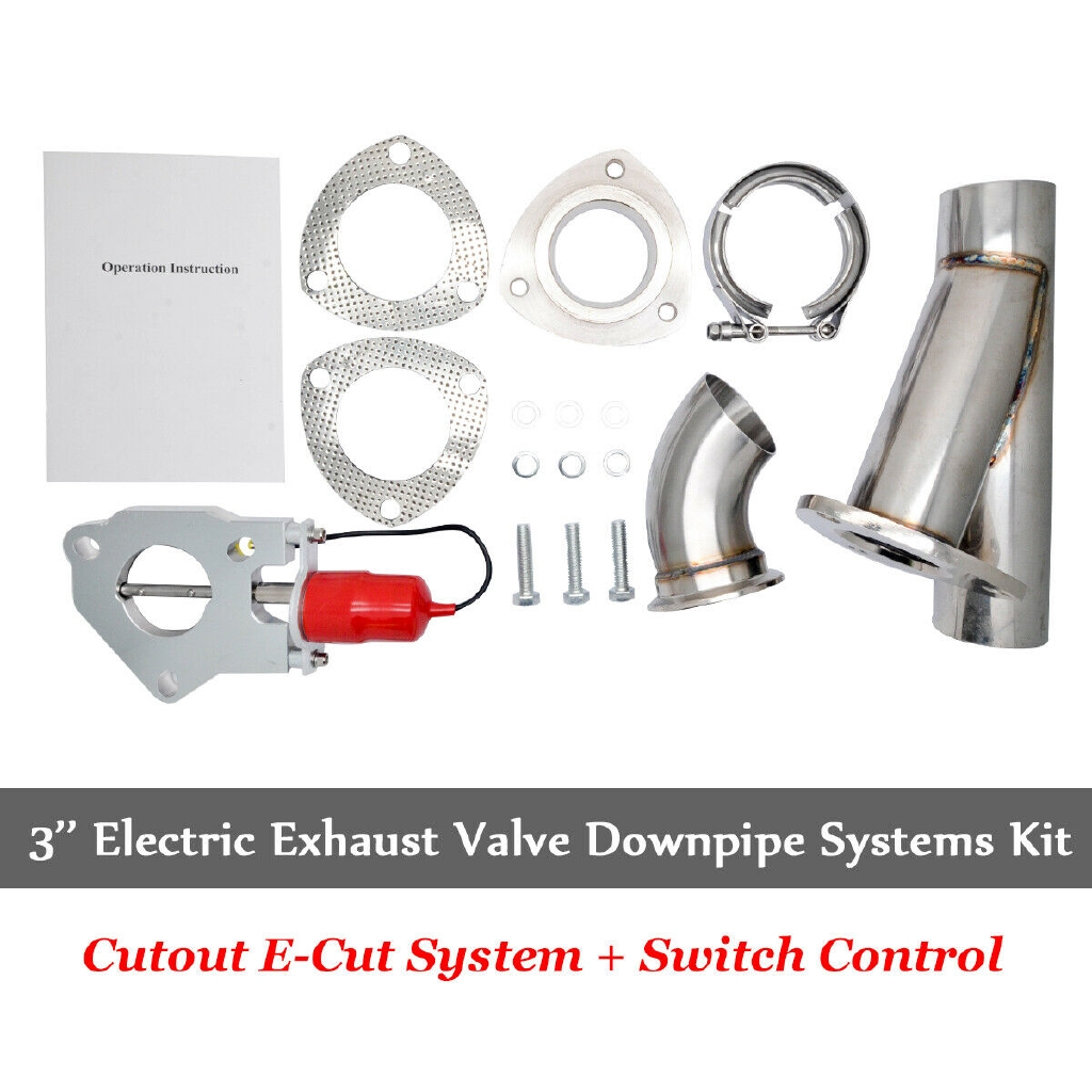 dual 3 exhaust valve catback downpipe cutout e cut system stainless kit remote