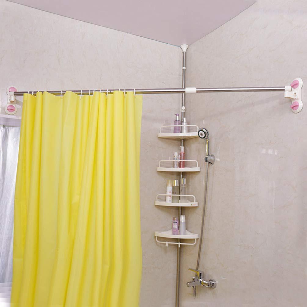 126 206cm expandable bathroom shower curtain rod suction cups towel bar rail
