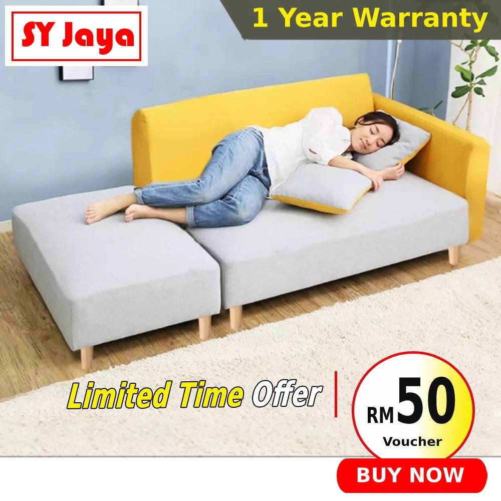nordic style chaise lounge kimle 2 seater sofa bed fabric sofa murah l shape sofa set 沙发床 living room furniture