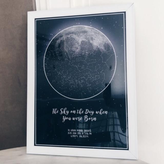 custom constellation moon star maps poster framed frame boyfriend gift anniversary anniversary gift