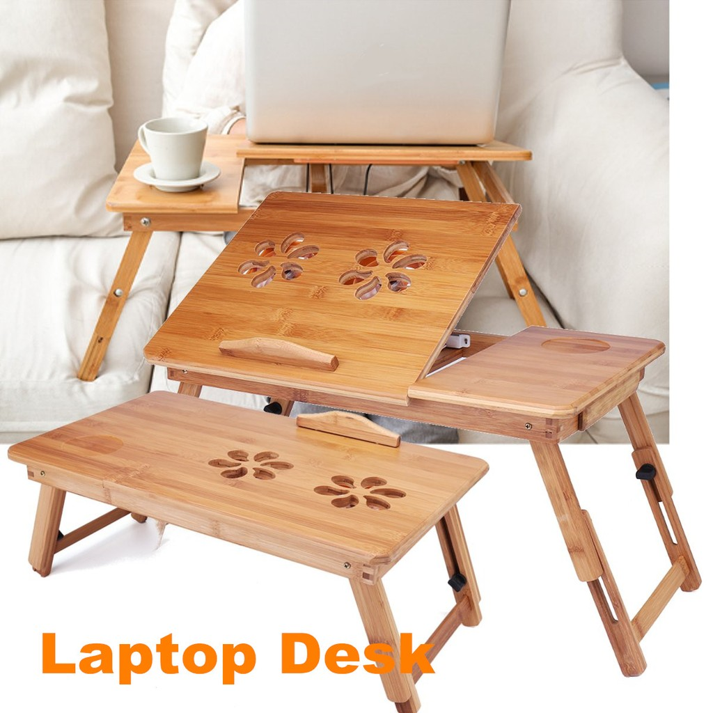 Portable Folding Lap Desk Bamboo Laptop Breakfast Tray Bed Table Stand Shopee Malaysia