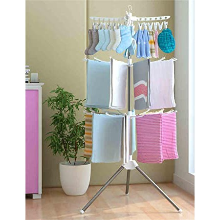 okura 3 tier foldable clothes drying laundry hanging rack