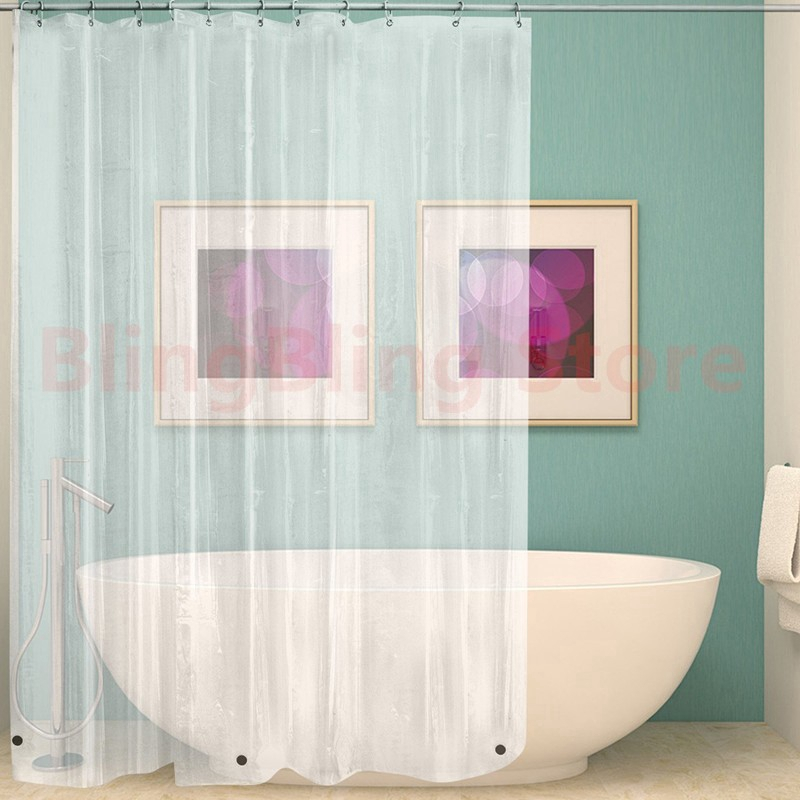 plastic white clear peva waterproof shower curtain with hooks