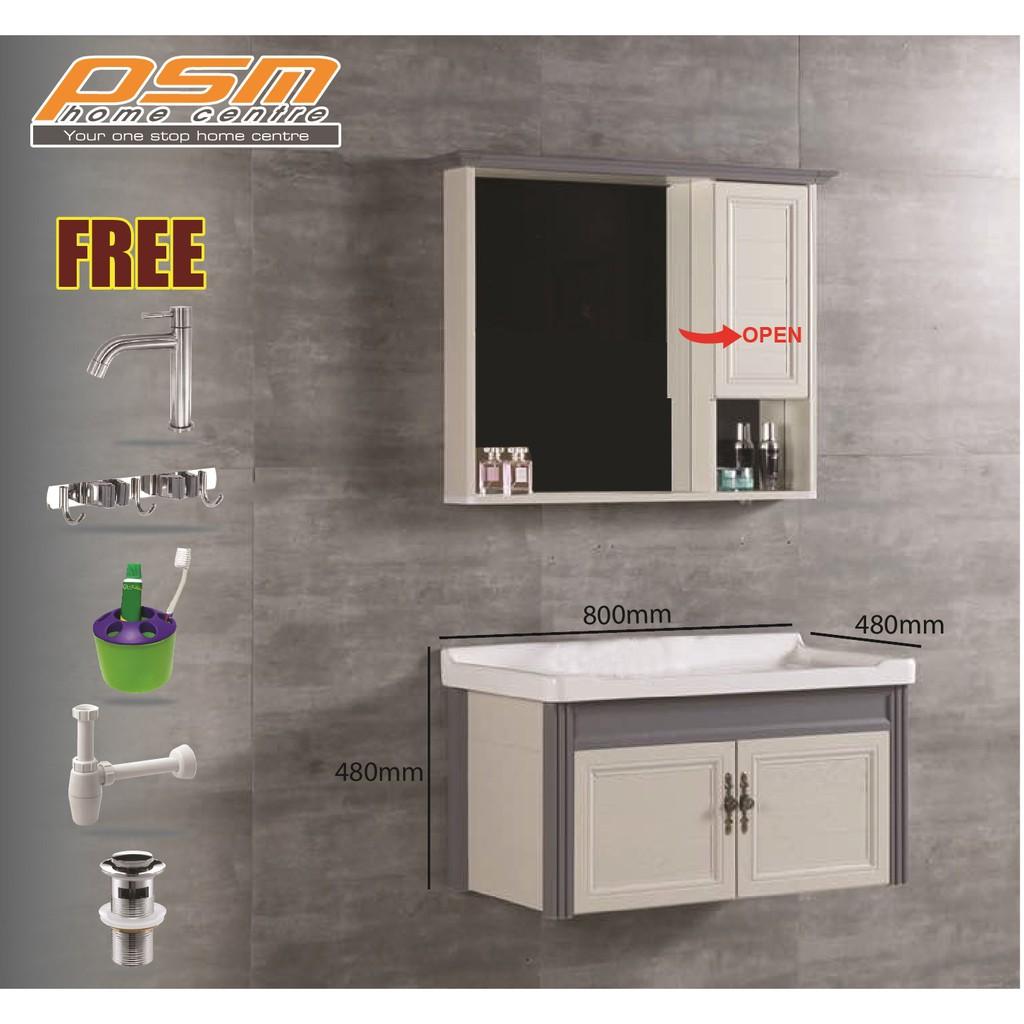 bathroom water proof aluminium material 80cm length large basin cabinet mirror cabinet combo cbfal38602
