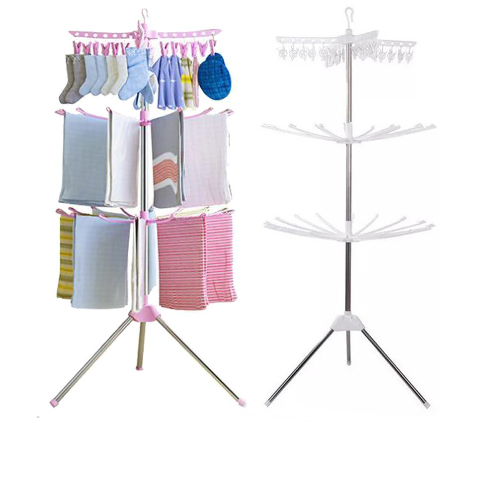 3 tiers foldable clothes drying rack and hanger laundry hanging drying rack