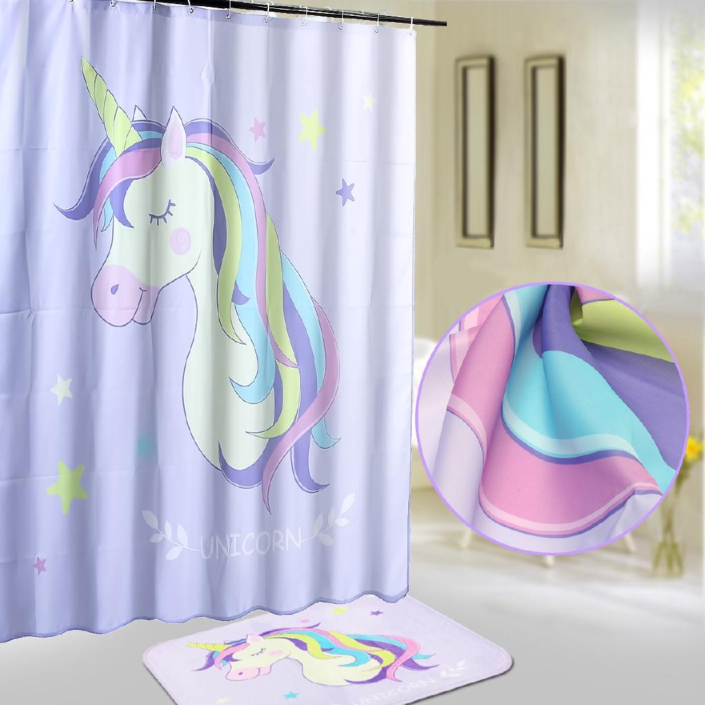 Light Purple Unicorn Waterproof Polyester Shower Curtain Fabric Shower Curtain Or Carpet