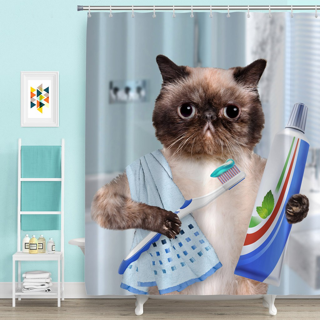 Brushing Teeth Cat Shower Curtain Bathroom Waterproof Polyester With 12 Hooks