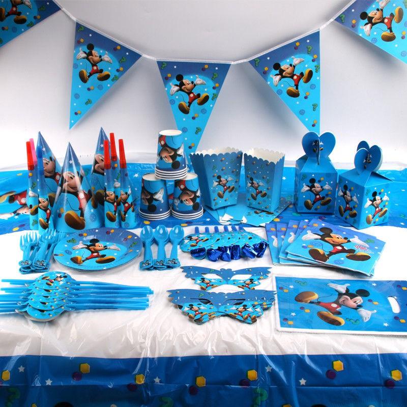 Mickey Mouse Kids Birthday Party Supplies Favor Tableware Decor Plates Napkins Shopee Malaysia