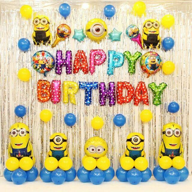 Minion Foil Balloons Happy Birthday Party Decorations Foil Balloons Hiasan Shopee Malaysia