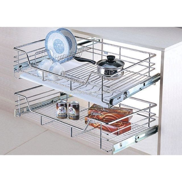 600mm 900mm steel kitchen cabinet 2 tier multi function pull out basket dish rack