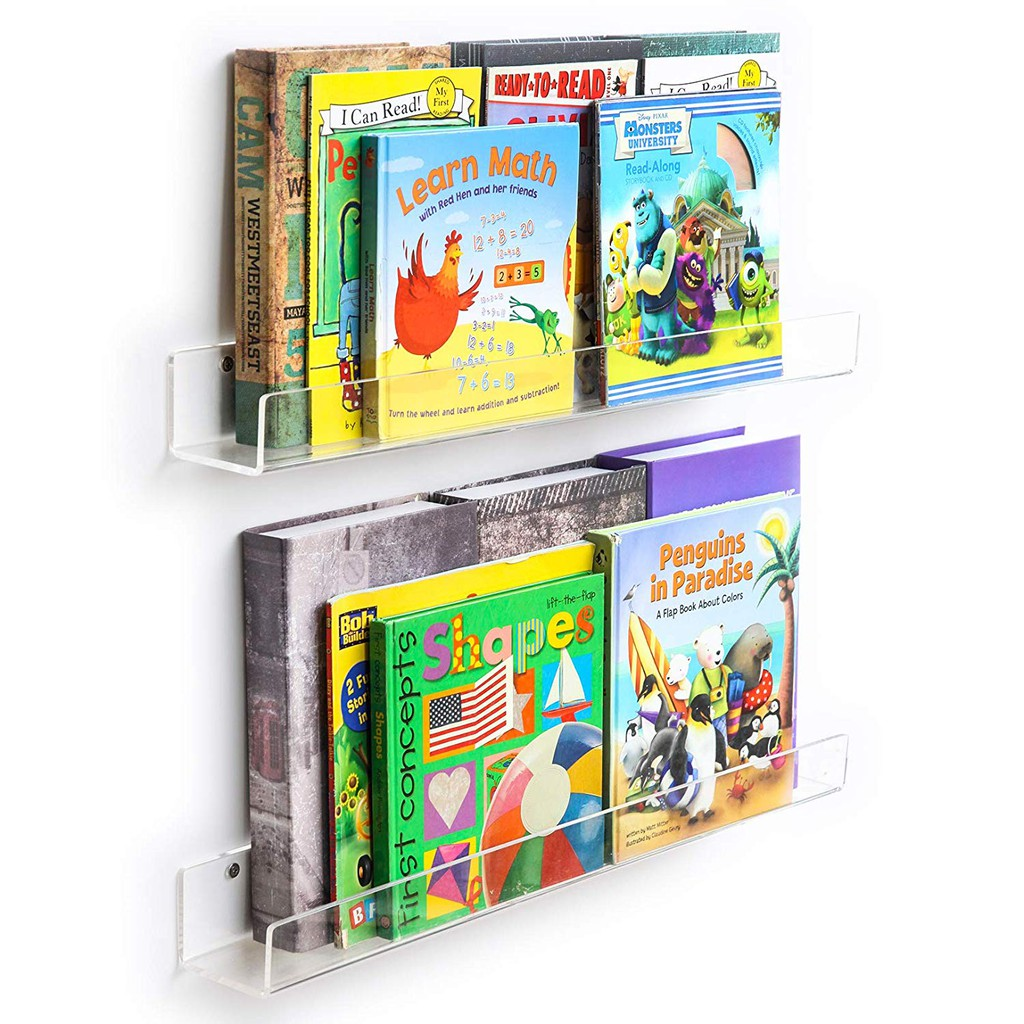 Kechmy Acrylic Invisible Floating Bookshelves Bathroom Rack Organization Kids Clear Wall Bookshelves Display Book Shelf