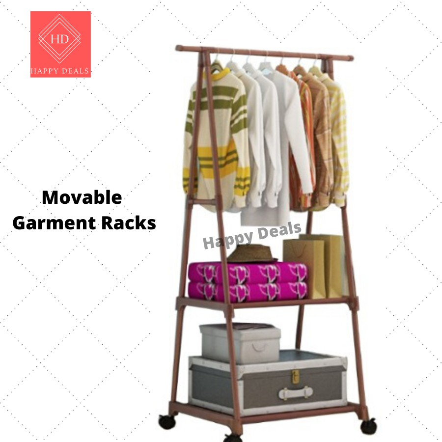 moveable garment rack movable cloth hanging organizer steel rack triangle clothes hanger movable standing rack roller