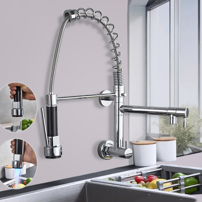 chrome kitchen faucet wall mounted 360 degree pull down stream sprayer taps