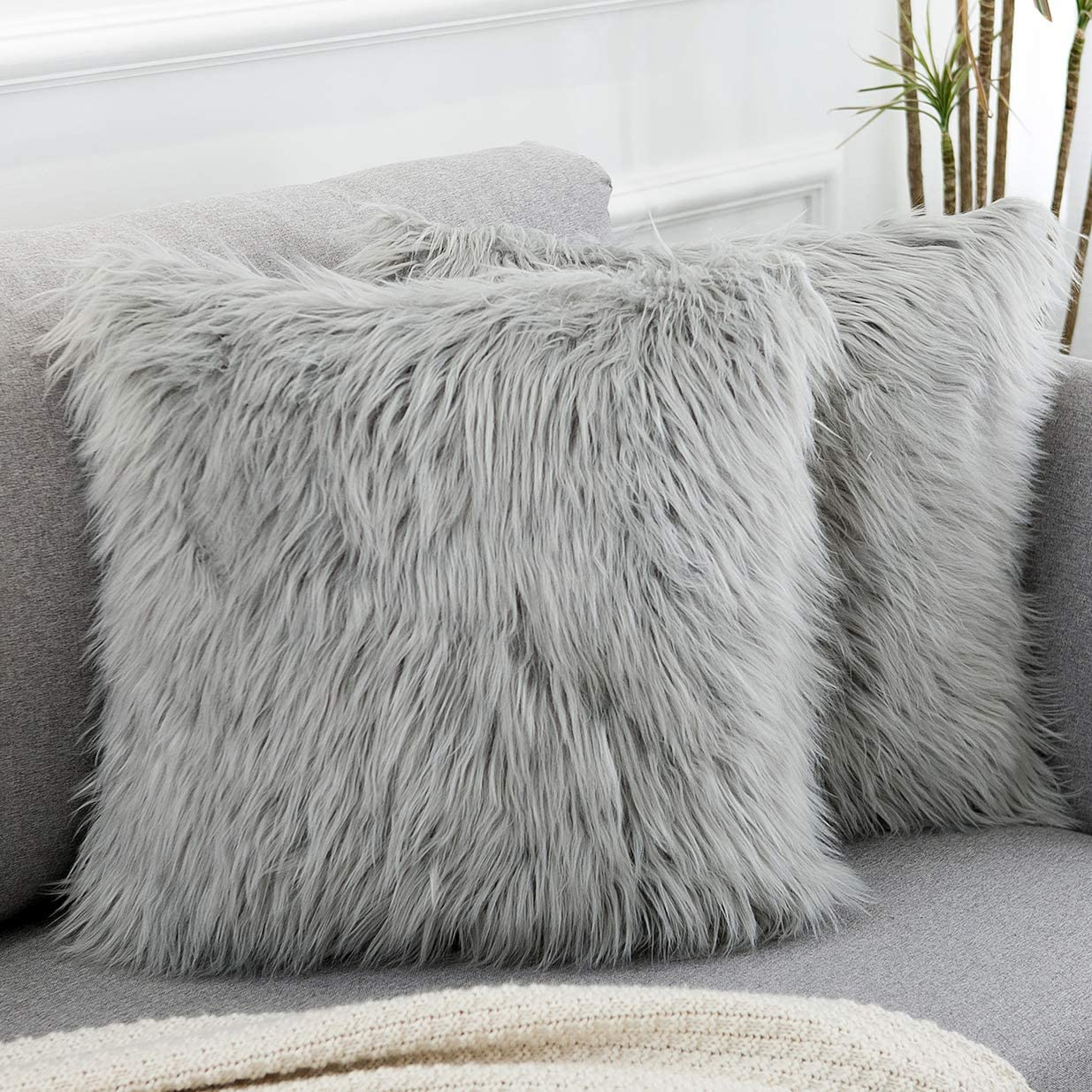 valentines day decorative pink fluffy pillow covers new luxury series merino style faux fur throw pillow covers fuzzy cushion cover 18x18 inches 45x45