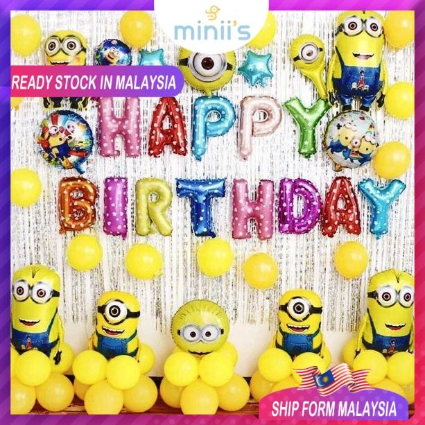 Minion Theme Premium Happy Birthday Party Decoration Balloon Set Shopee Malaysia