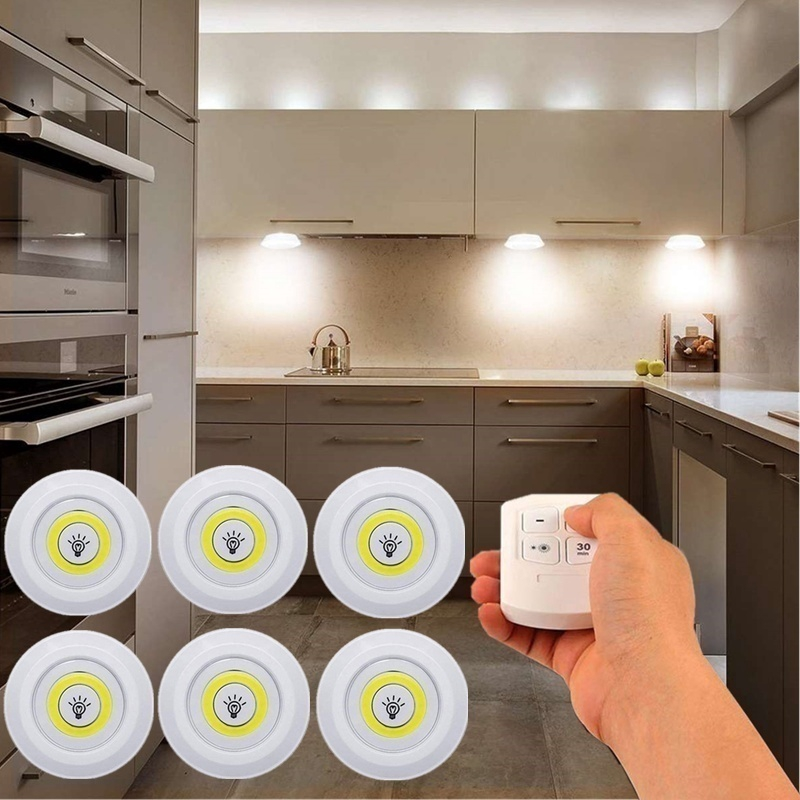 ready stock cod household dimmable led light puck light with remote control led under cabinet lights for closets wardrobe bathroom lighting