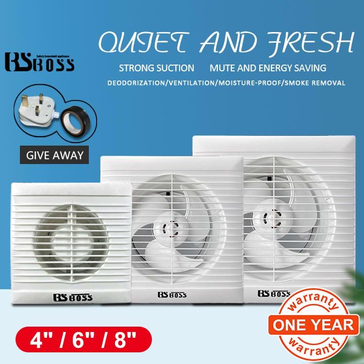 bsboss 4inch 6inch 8inch bathroom exhaust type pvc bedroom living room toilet kitchen guest room exhaust fan ventilator