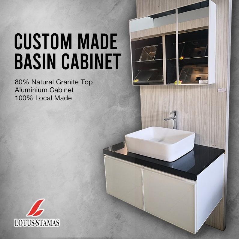 local custom made aluminium basin cabinet black top white cabinet for toilet hand wash basin