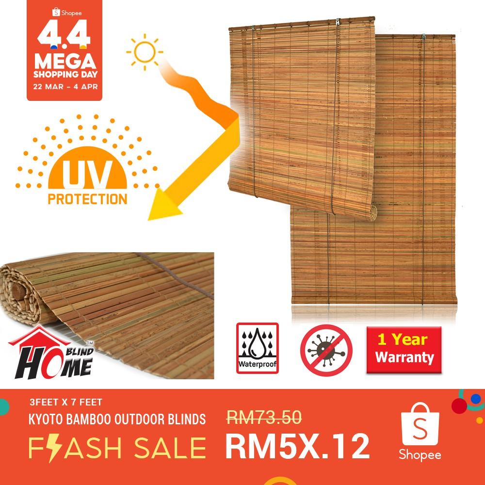 kyoto bamboo outdoor blinds 7 feet height bamboo slats roller blinds bidai buluh natural color