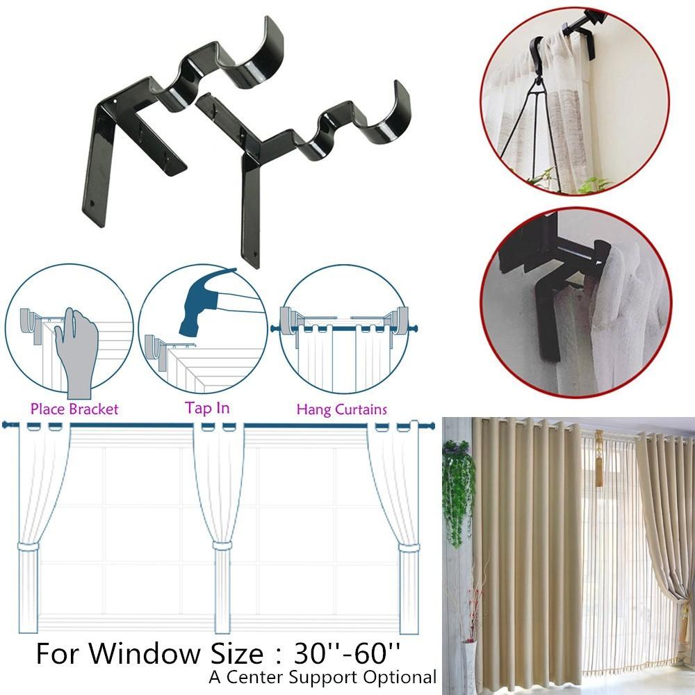 kwik hang double center support curtain rod bracket