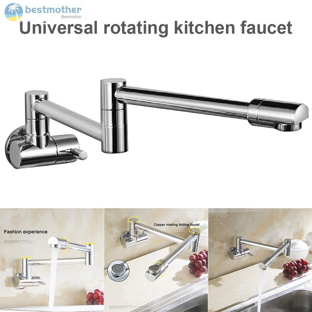 brass folding swing spout faucet kitchen wall mount single handle pot filler faucet