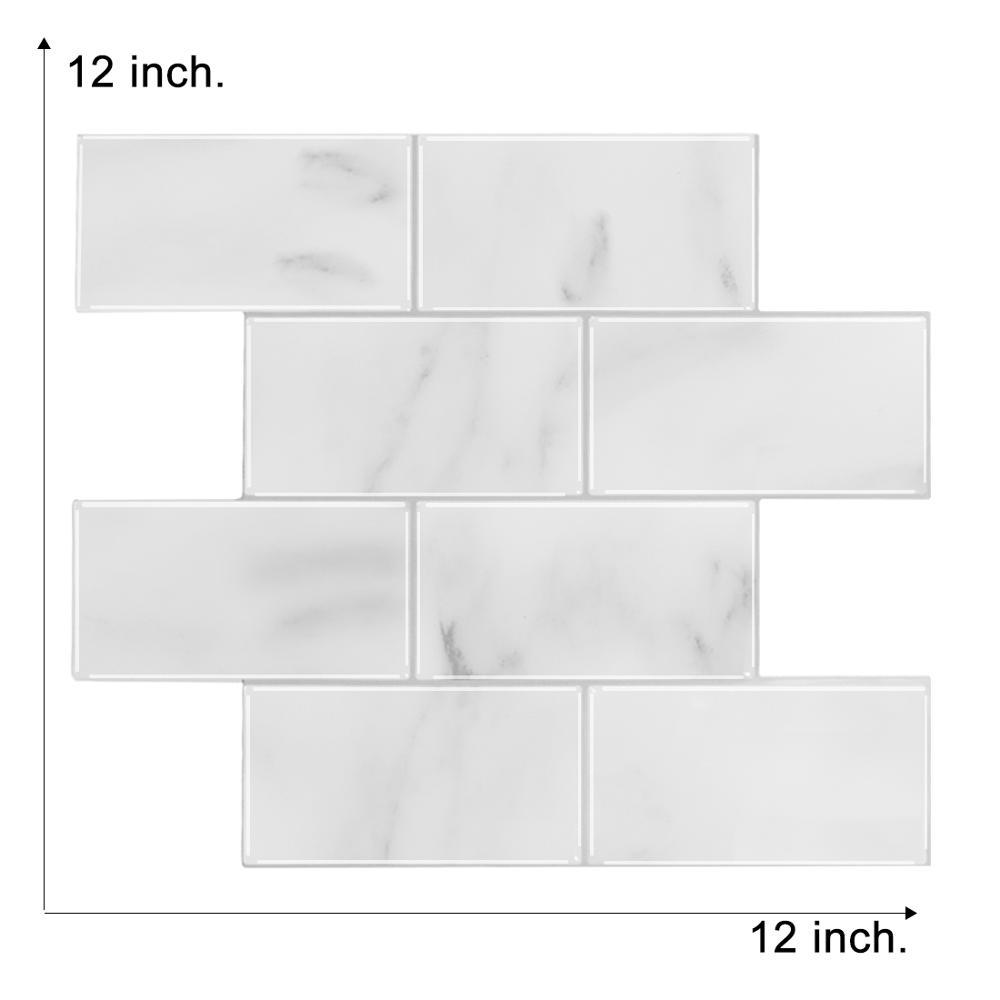 3d wall tile sticker peel and stick white subway kitchen backsplash wallpaper in upgrade thicker design 1 sheet