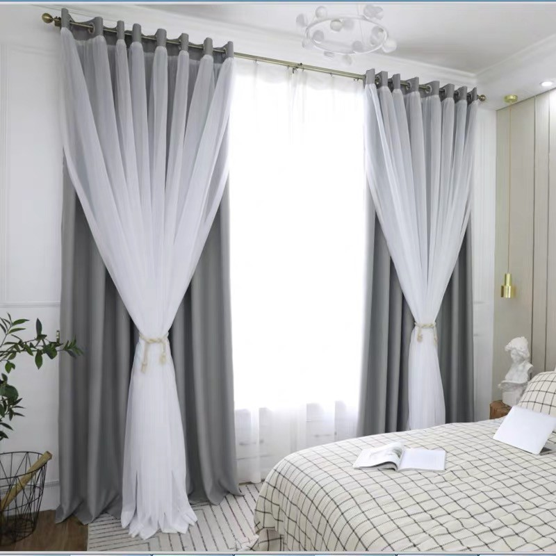 modern blackout double curtain for living room bedroom luxury two layers of yarn and cloth curtain decor drape