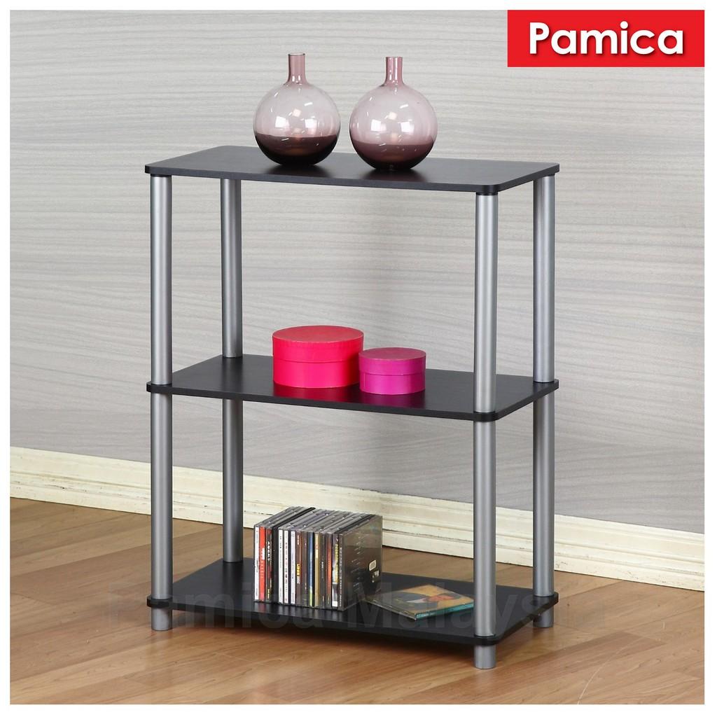 Pamica Rs5007 Flexipole No Tools 3 Shelf Bookcase In Black Oak Finishing