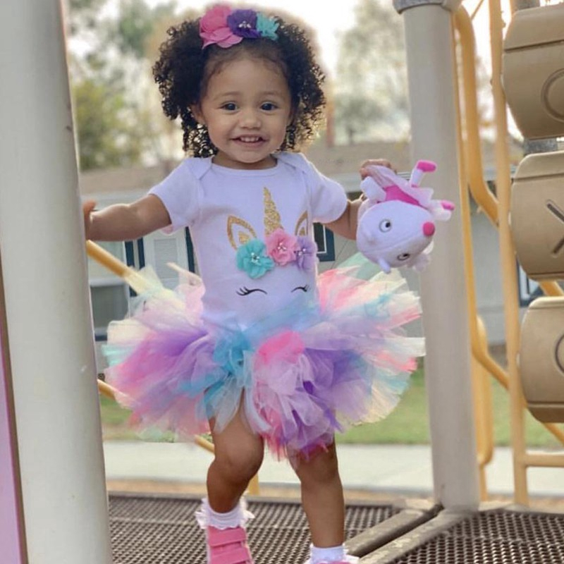 Unicorn Little Princess Baby 1st Birthday Dresses For Girls Summer Cute Party Girl Clothes Headband Shopee Malaysia