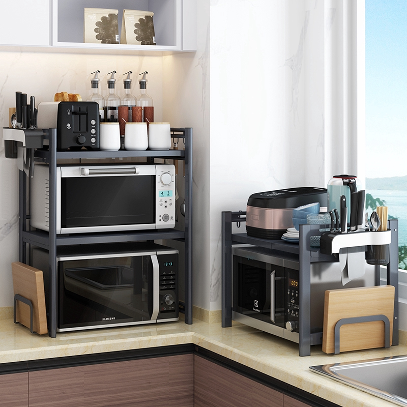 kitchen retractable oven microwave oven integrated double layer shelf ikea multi functional table home storage rack