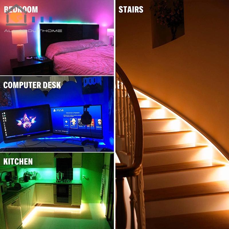 led strip lights set sync to music flexible rgb remote color change room mood lighting bedroom