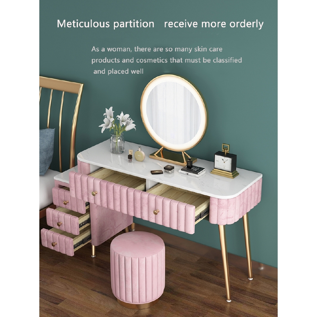 bedroom furniture marble dressing table with mirror set chair modern minimalist storage cabinet